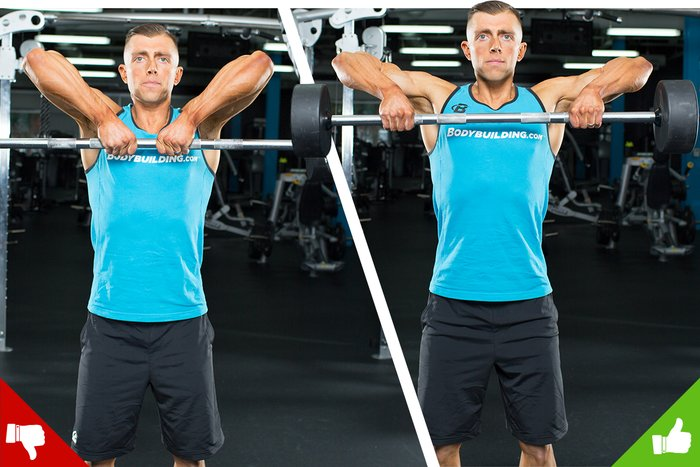 Upright barbell rows, right way and wrong way