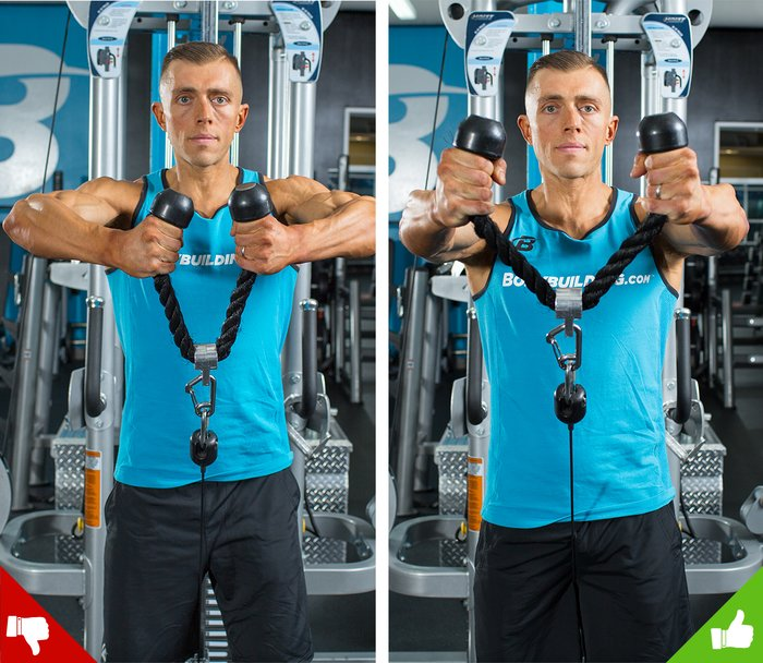 Cable front raises, right way and wrong way