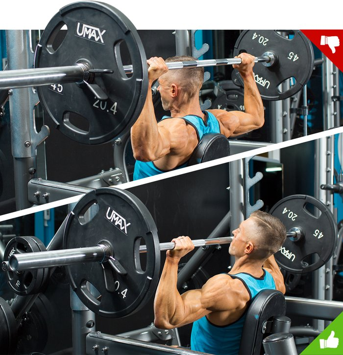 Overhead barbell press, right way and wrong way