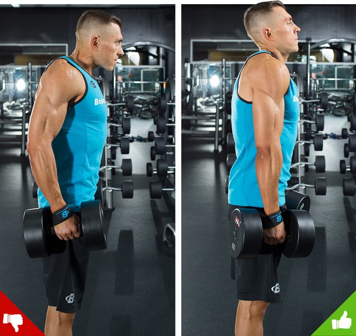 Dumbbell shrugs, right way and wrong way