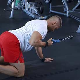 Prone single-arm lat pull (on hands and knees)
