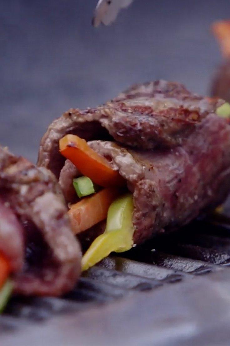 Stuffed Flank Steak Rolls With Chimichurri Sauce