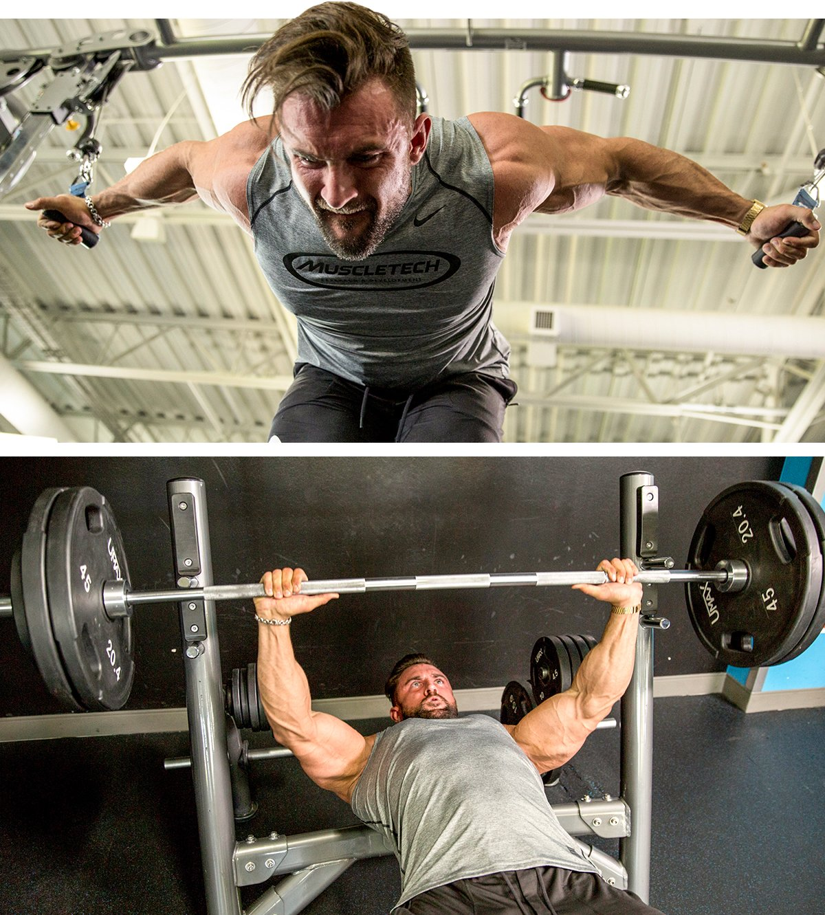 Bent-Over Cable Fly and Bench Press