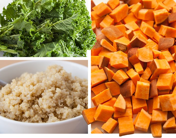 Carbohydrate sources: leafy greens, brown rice, and sweet potatoes