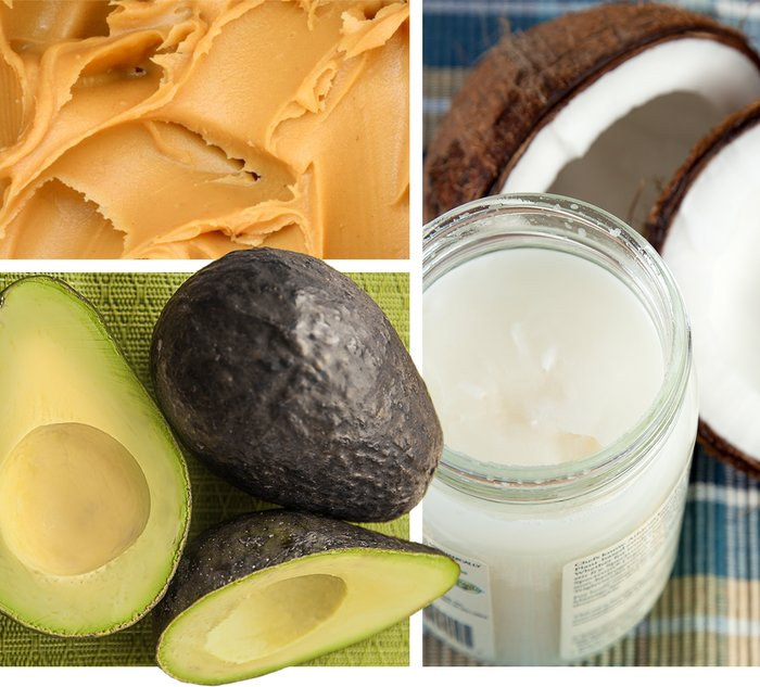 Fat sources: peanut butter, avocado, and coconut oil