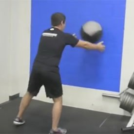 Medicine-ball front rotary scoop throw