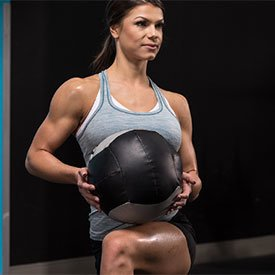 Medicine-ball reverse lunge with torso rotation