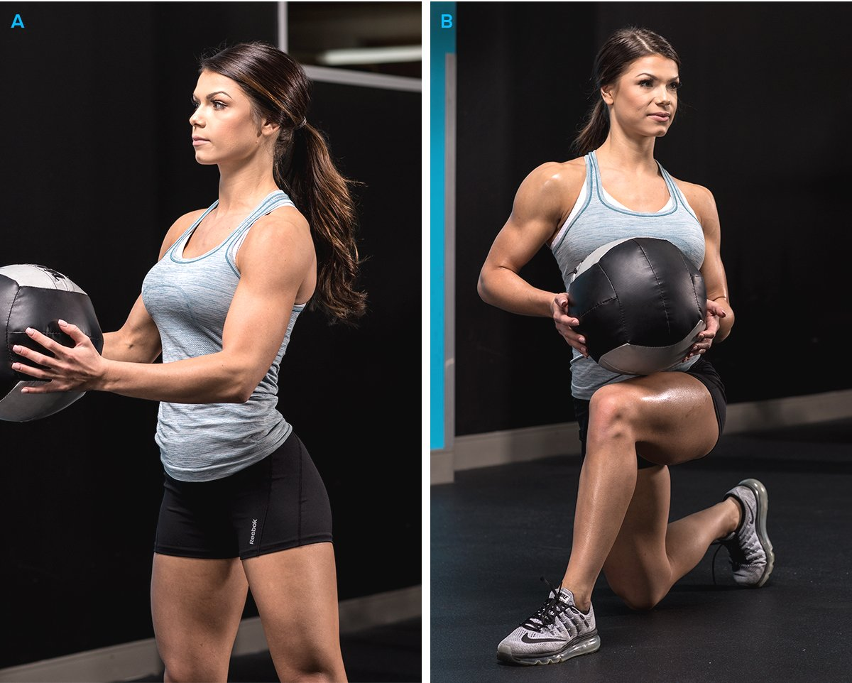 Medicine-Ball Reverse Lunge with Twist