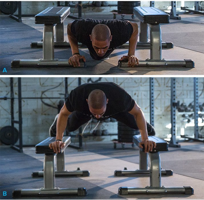 Explosive push-up to benches