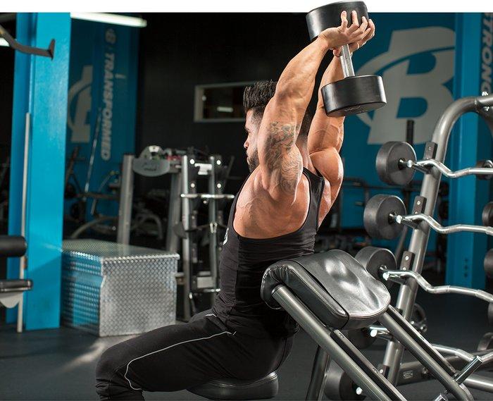 Extensiones de tríceps sentado con mancuernas por encima de la cabeza