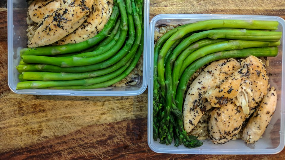 Poppy Seed Chicken, Asparagus, and Wild Rice