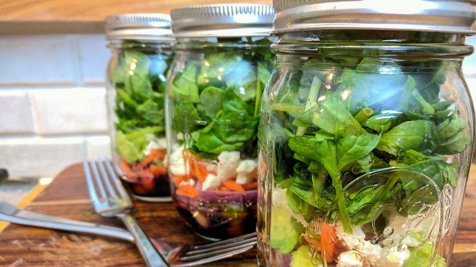 Mason Jar Spinach and Feta Salad