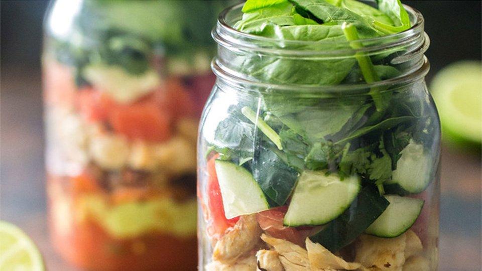 Mason Jar Chicken Taco Salad