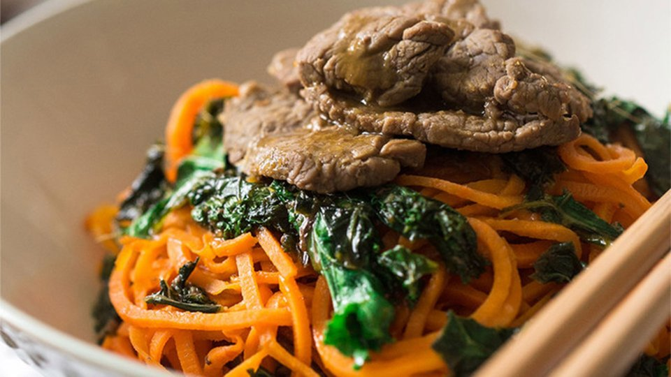 Orange Beef Stir-Fry Sweet Potato Noodles And Kale