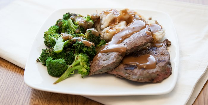Meat, potatoes, and broccoli
