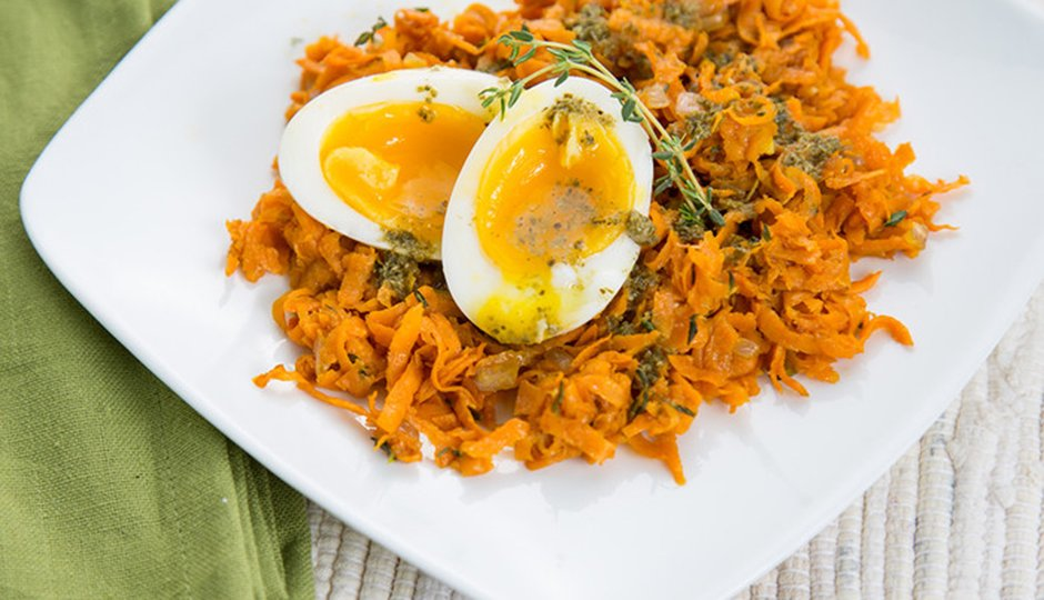 Sweet Potato Hash With Soft-Boiled Egg