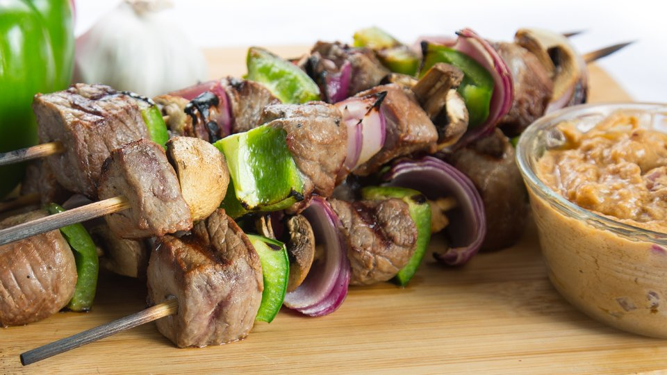 Bison Kebab With Peanut Sauce
