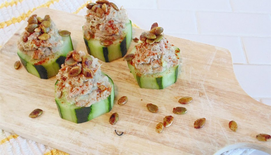 Creamy Tuna, Cucumber Canapés, And Spicy Roasted Pepitas