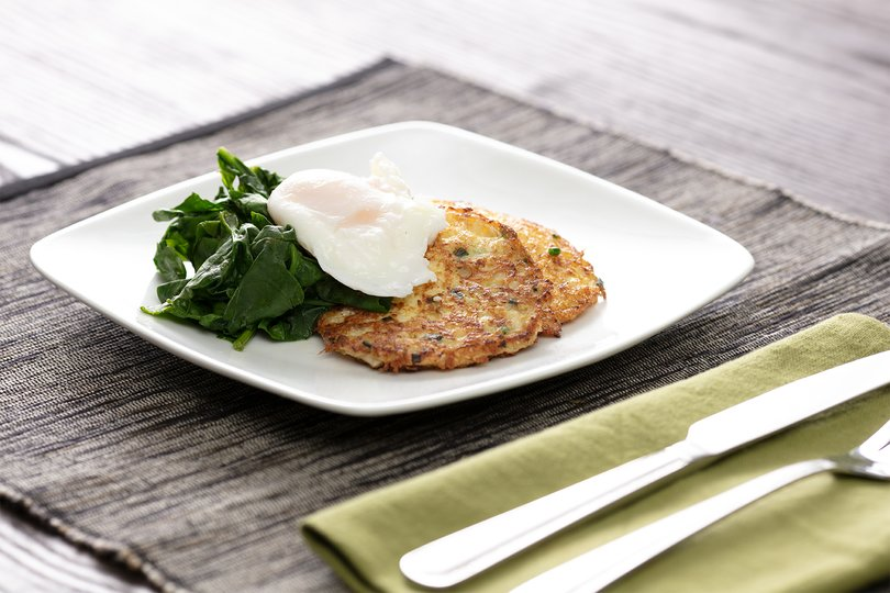 Cauliflower Hash Browns with Eggs and Spinach