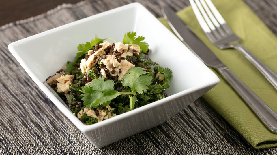 Curried Lentil Salad, with Kale and Tofu