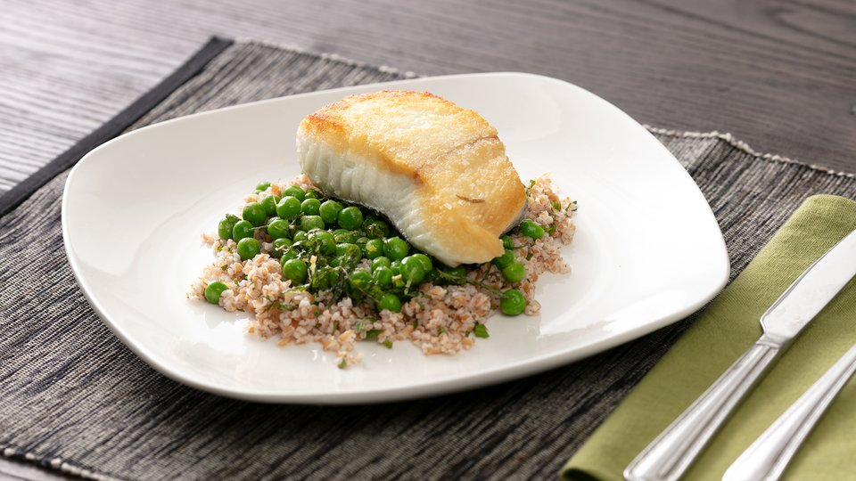 Grilled Halibut with Minted Peas and Freekeh