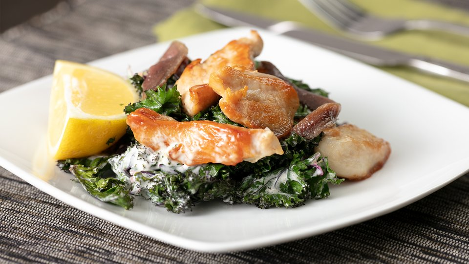 Grilled Kale Caesar with Chicken