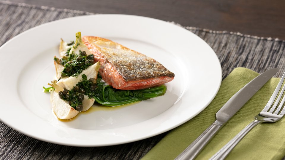 Grilled Salmon With Roasted Turnips