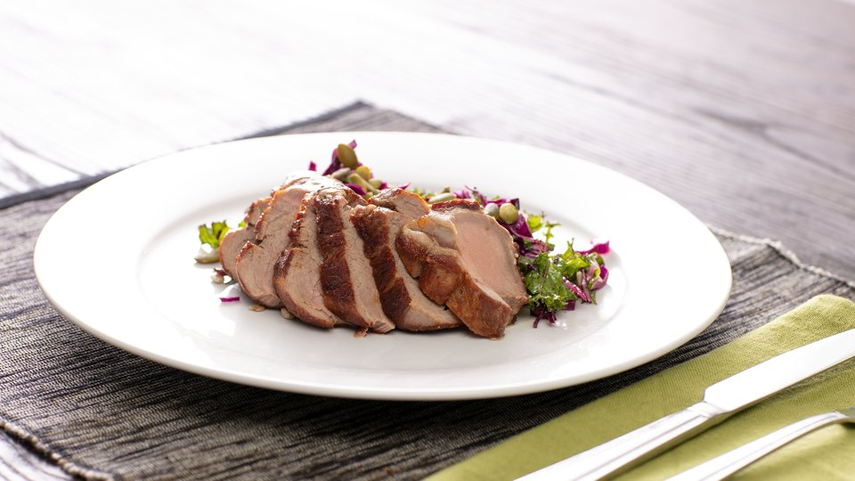 Pork Tenderloin with Kale and Red Cabbage Slaw