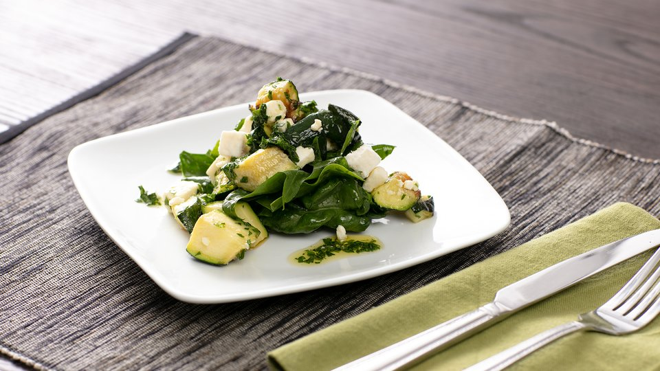Roasted Zucchini with Spinach and Feta