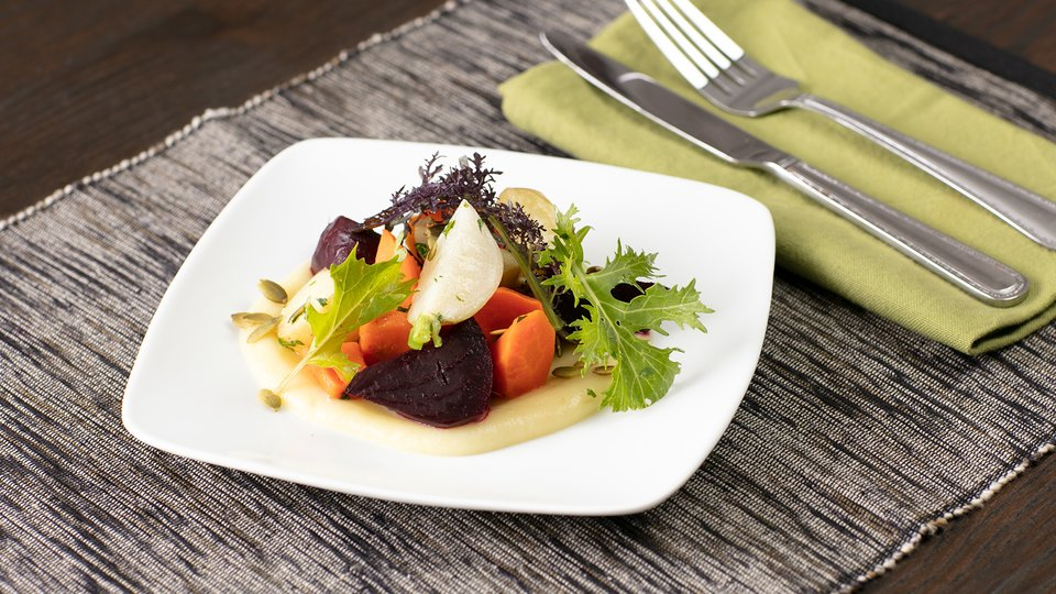 Root Vegetable Salad with Parsnip Puree
