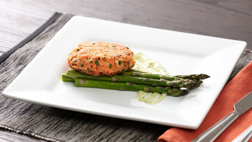 Salmon Cake with Roasted Asparagus