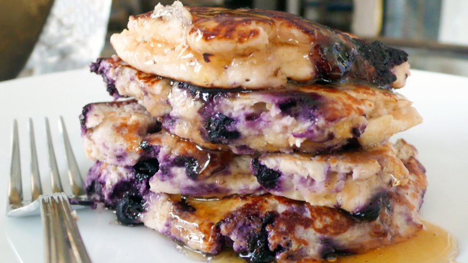 Apple Strawberry Blueberry Protein Pancakes
