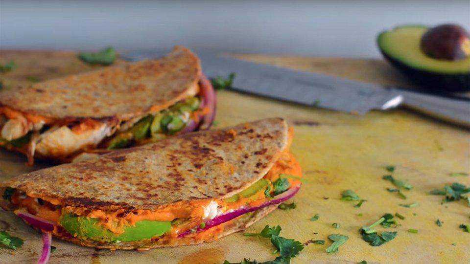 Healthy Chicken And Veggie Hummus Quesadillas