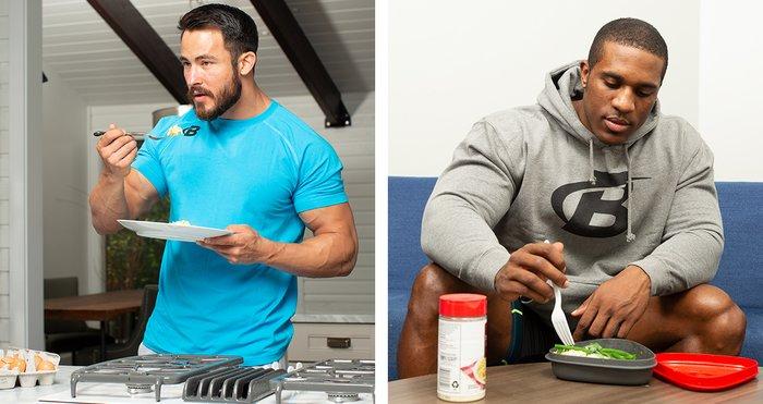 Quieres desarrollar músculo, pero también quieres estar delgado.  Debe tener proteínas, carbohidratos y grasas saludables en su dieta, pero cómelos todos con moderación.  Apunte a una proporción macro de 40 por ciento de proteína, 30 por ciento de carbohidratos y 30 por ciento de grasa.