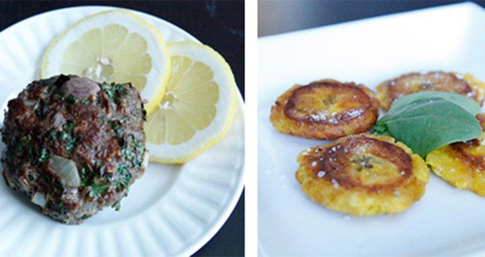 Cilantro Beef Burgers & Ecuadorian Style Patacones