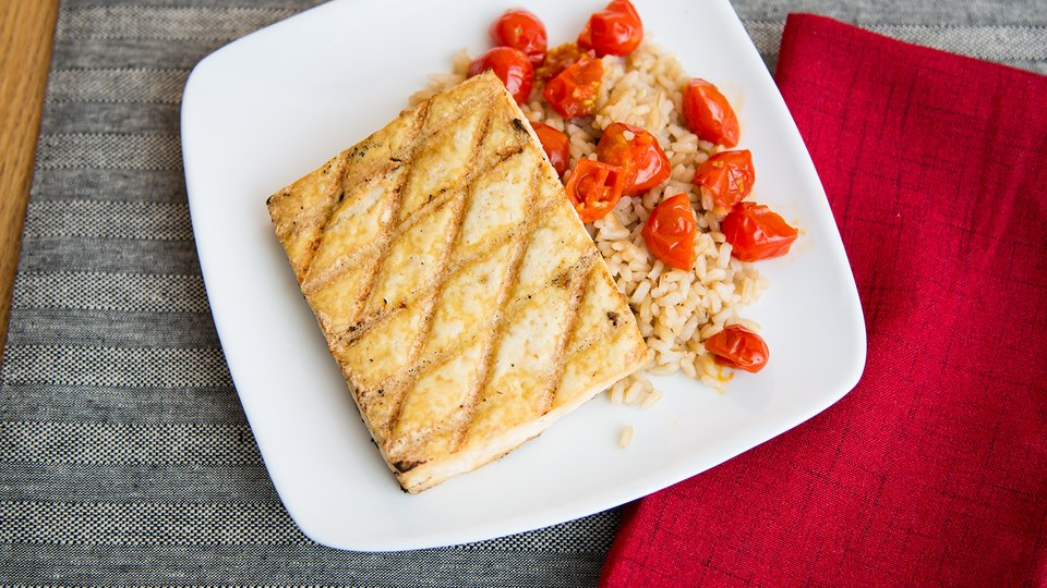 Tofu Steaks with Blistered Tomatoes