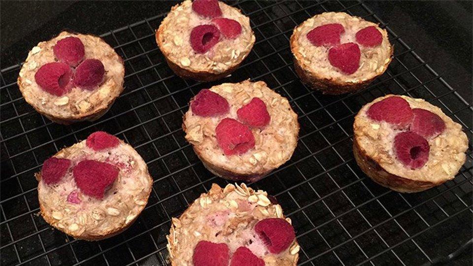 Baked Raspberry Oatmeal Muffins