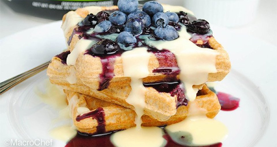 Blueberry Cheesecake Protein Waffles
