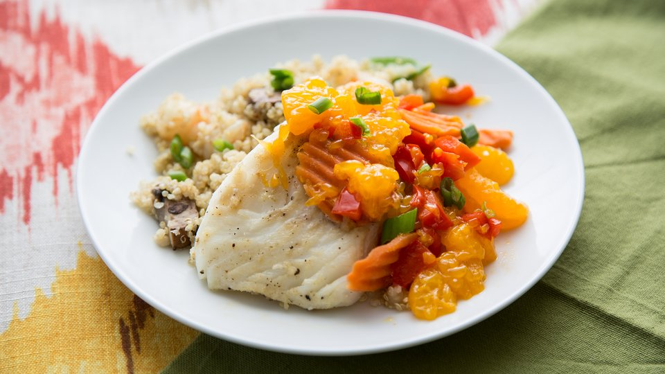 Cod Fish with Mandarins and Walnuts and Toasted Quinoa