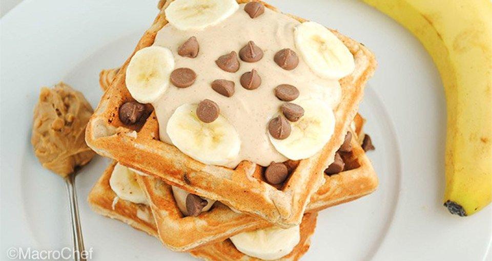 Peanut Butter Banana Chocolate Chunk Waffles