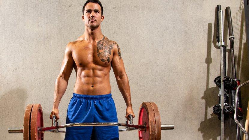 Тренировка становой тяги с треп-штангой