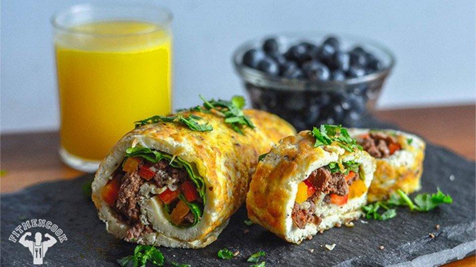 Bison Omelette Roll-Up