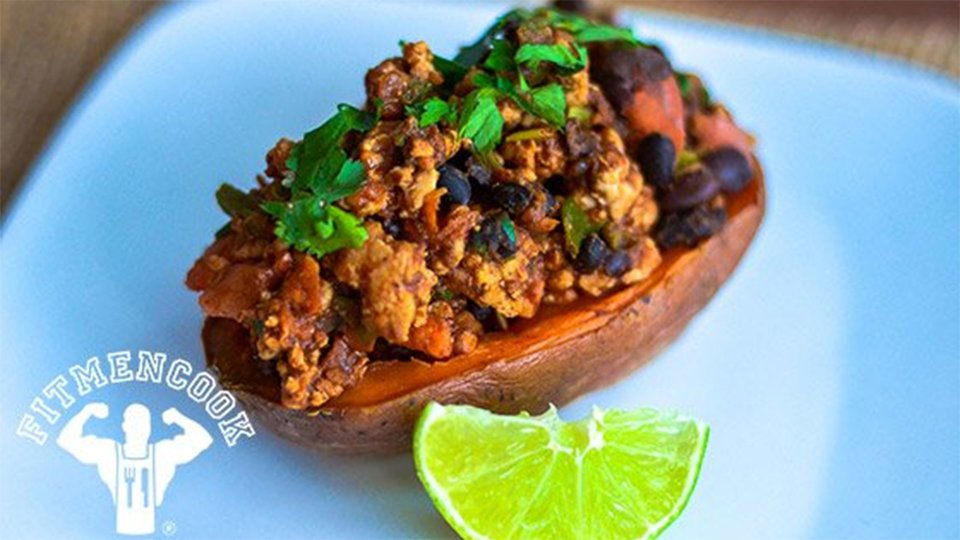 Chili-Stuffed Sweet Potato