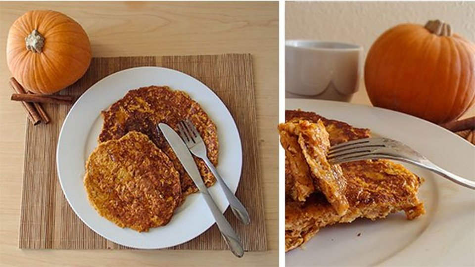 Cinnamon Swirl Pumpkin Pie Protein Pancakes
