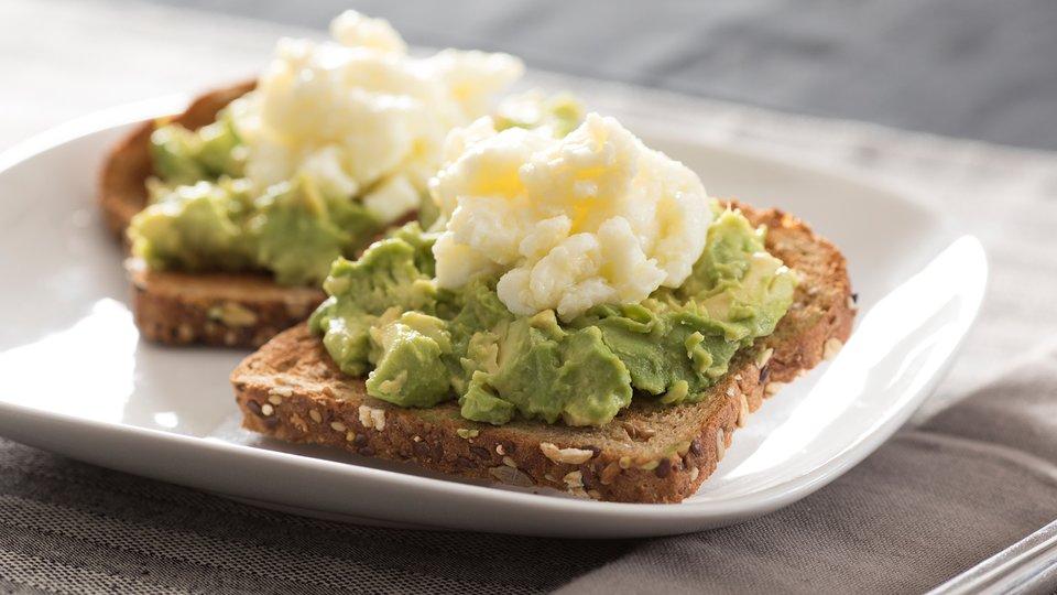 Egg White Scramble on Whole Grain Avocado Toast