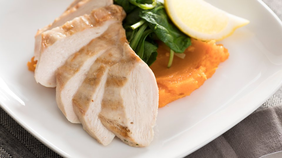 Grilled Chicken Breast, Mashed Sweet Potato, and Spinach