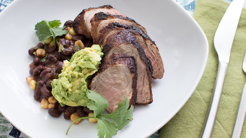 Cacao Pork with Black Beans, Corn, and Avocado