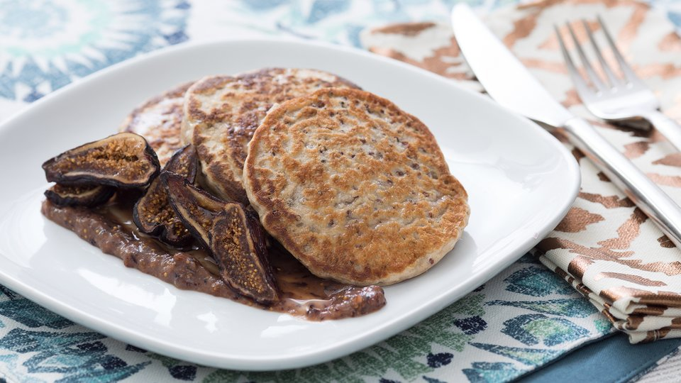 Quinoa Pancakes with Almond Fig Puree