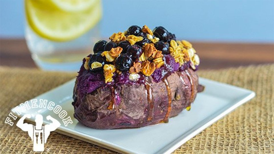 Honey-Stuffed Purple Sweet Potato