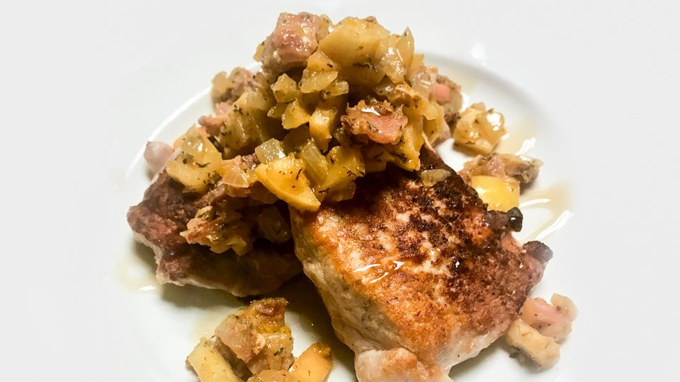 Apple Fritter Mass JYM Pork Chops with Maple Bacon Relish